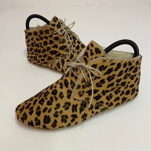 ANNIEL Calf-Hair Leopard Soft Icon Booties, 37/6.5